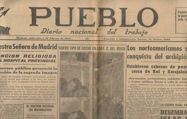 Una portada del diario Pueblo de 1944.,