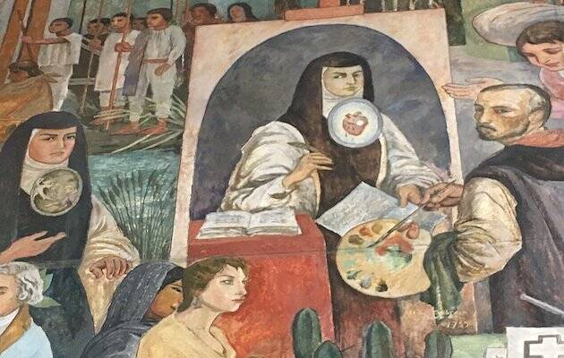Arturo García Bustos, sor Juana Inés de la Cruz, mural en Oaxaca.,