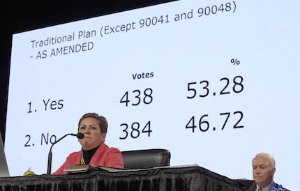 Cynthia Ferro presenta el resultado de la votación. / Paul Jeffrey, UMNS