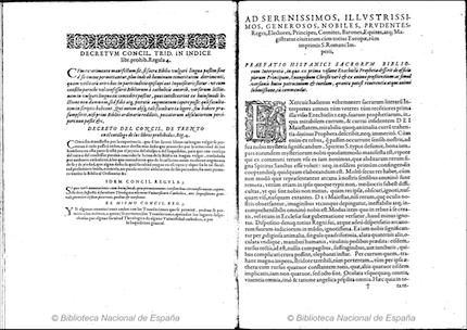 La Biblia del Oso, así como las demás obras de Casiodoro, fueron incluidas en el índice de libros prohibidos de la Inquisición. En la imagen se puede ver el decreto por el que el libro era prohibido. / Biblioteca Nacional Española