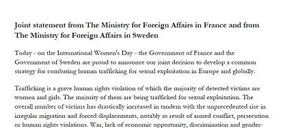 Declaración conjunta de los Ministerios de Asuntos Exteriores de Suecia y Francia.