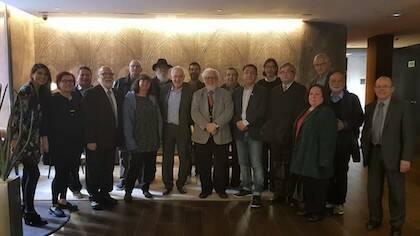 Miembros del Consell Evangèlic de Catalunya reunidos con el candidato de Esquerra Republicana a la alcaldía de Barcelona, Ernest Maragall. / CEC
