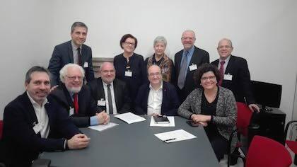 Representantes del Consell Evangèlic de Catalunya en una reunión el secretario general del PSC, Miquel Iceta. / CEC