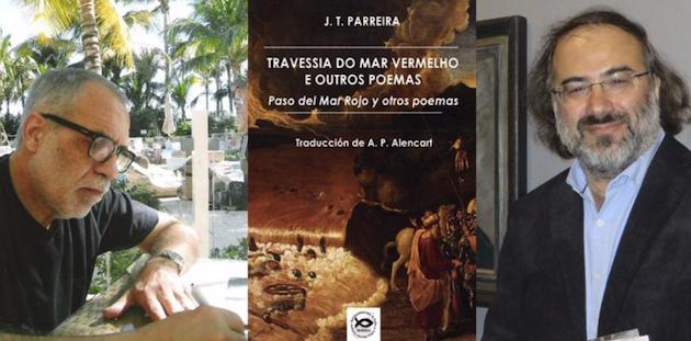 J.T. Parreira, Alfredo Pérez Alencart, y la portada del nuevo libro.,
