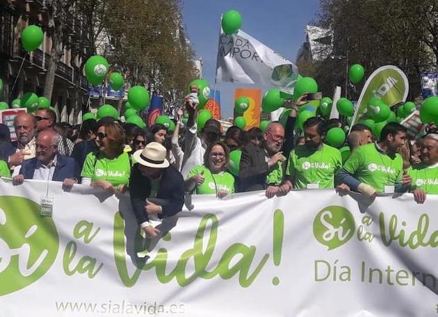 Cabecera de la marcha por la vida de 2019 celebrada en Madrid. / Aesvida,