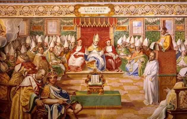 Un fresco sobre el Concilio de Nicea en la Capilla Sixtina. / Wikimedia Commons,