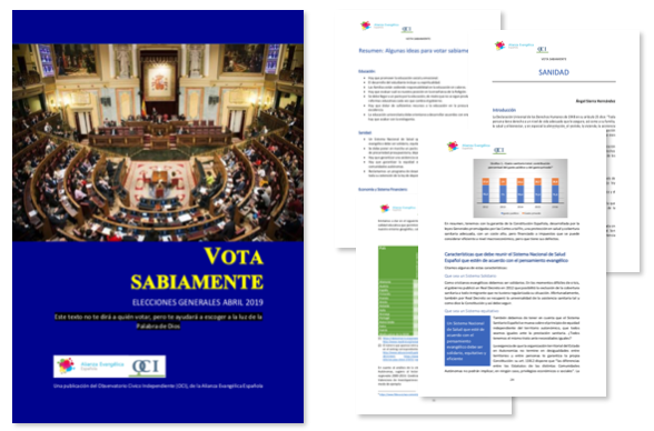 Vota sabiamente está disponible en la web de la Alianza Evangélica Española.,