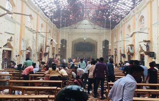 Interior de una de las iglesias atacadas.,