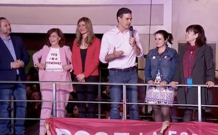 Pedro Sánchez, compareciendo en la sede de Ferraz. / RTVE