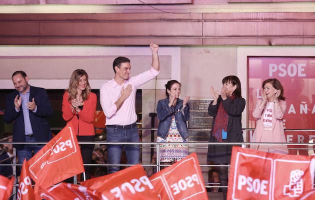 Sánchez celebra el resultado en Ferraz. / PSOE,