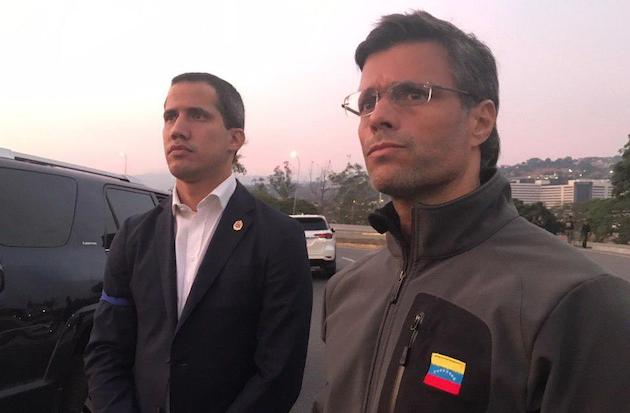 Juan Guaidó y Leopoldo López, esta mañana.,