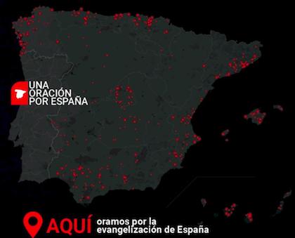 Mapa de España con los municipios sin iglesia evangélica del padrón de Decisión señalados en rojo. / Decisión