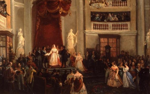 José Castelaro: Isabel II jura la Constitución, 1844, Museo de Historia de Madrid. / Wikipedia, dominio público,