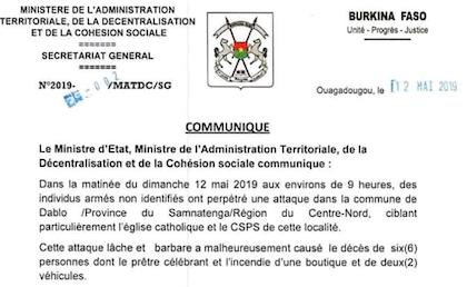 Fragmento del comunicado publicado por el Ministerio de la Administración Territorial de Burkina Faso, con motivo del atentado en Dablo. / L'Observateur Paalga