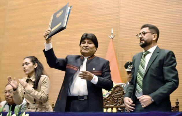 El presidente de Bolivia, Evo Morales, presentando la nueva Ley de Libertad Religiosa, Organizaciones y Creencias Espirituales. / Correo del Sur,