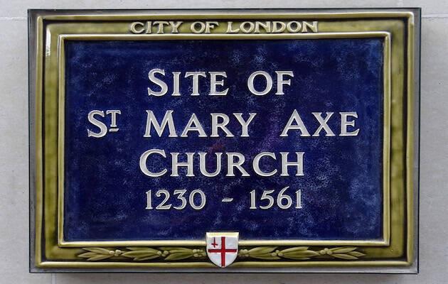 Placa del sitio de la Iglesia Saint Mary Axe, 1230-1561.,