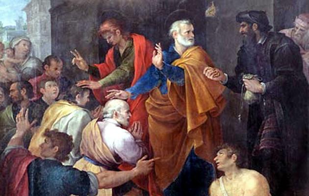 Simón el Mago, de negro, intenta comprar el don del Espíritu Santo a Pedro. Cuadro de Avanzino Nucci, de 1620. / Wikimedia Commons,