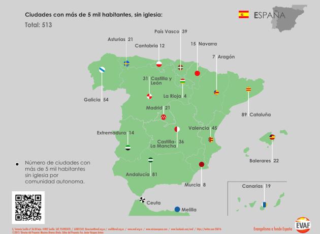 Mapa misionológico de España./ EVAF,