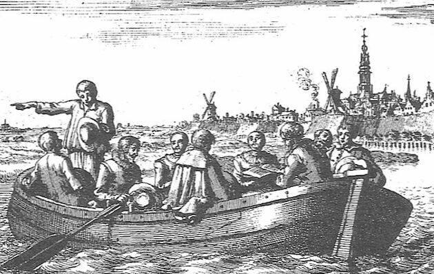 Anabaptistas reunidos en secreto en la barca de Peter Piersz. / Ilustración de Jan Luyken, dominio público.,