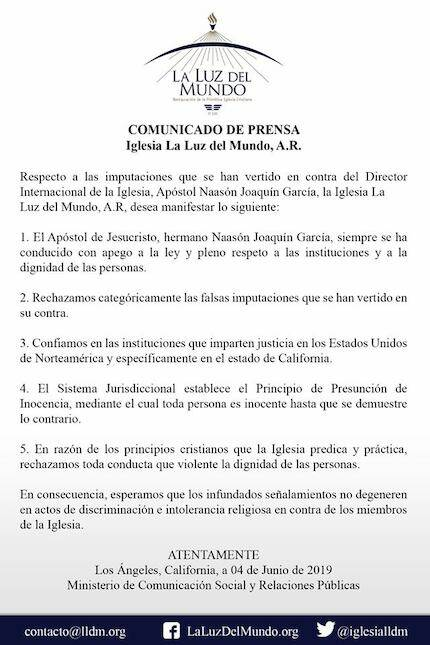 Comunicado de la Iglesia La Luz del Mundo.