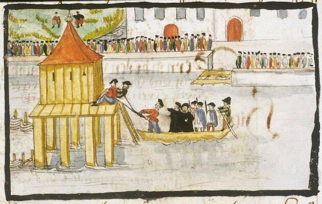 Ahogamiento de los anabaptistas Heini Reimann y Jakob Falk por sentencia de las autoridades de Zúrich. / Heinrich Thomann, Wikimedia Commons,