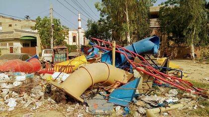 El patio de recreo fue completamente destruido. / Iftikhar Indryas.