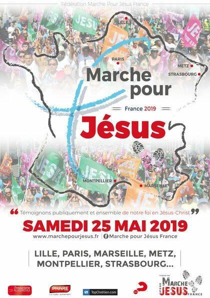 Cartel de una de las marchas. / marche Pour Jesus