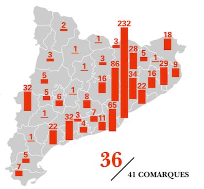 Mapa territorial de las comarcas de Cataluña con la cantidad de iglesias evangélicas en cada una de ellas en 2014. Desde entonces, hay presencia evangélica en otra comarca más, por lo que son cuatro, y no cinco, donde no hay presencia evangélica. / Afers Religiosos