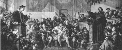 Eck (izquierda) y Lutero (derecha) se presentaron para debatir en la ciudad alemana de Leipzig en el verano de 1519./ LutheranReformation.Org