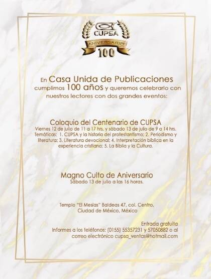 Anuncio de las celebraciones del 100 aniversario de CUPSA.