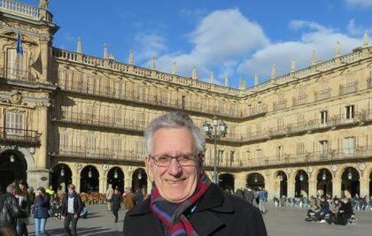 Máximo García Ruiz en la Plaza Mayor de Salamanca (Foto de Jacqueline Alencar)