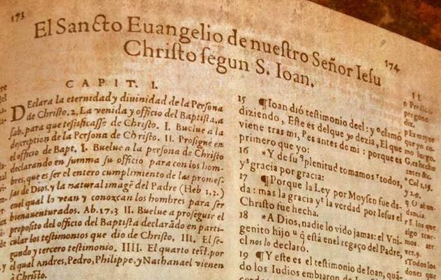 Inicio del Evangelio de Juan en la Biblia del Oso.,