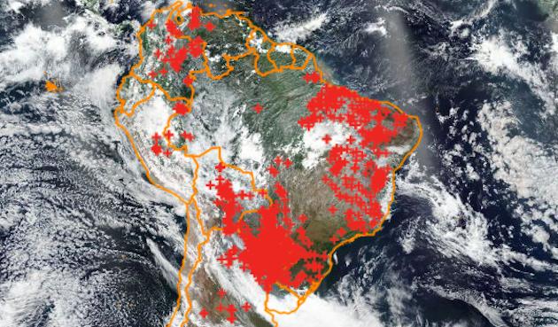 Mapa de localización de los incendios activos en suelo brasileño, en color rojo, a fecha del 1 de octubre de 2019. / Queimadas, INPE,