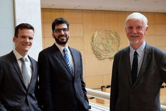 Michael Mutzner, Wisaam Al-saliby y Albert Hengelaar, representantes de la WEA en la sesión 42 del Consejo de los Derechos Humanos de Naciones Unidas. / WEA,
