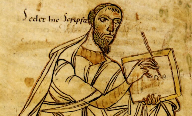 Pablo escribiendo, imagen del siglo IX d.C. / Wikimedia Commons,