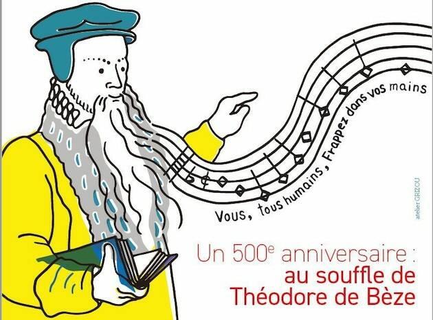 Cartel de la Asamble del desierto en homenaje a Teodoro de Beza.,