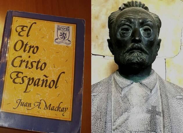 Potada de El otro Cristo español, de Juan A. Mackay, y busto de Miguel de Unamuno. / Composición de José Amador Martín,