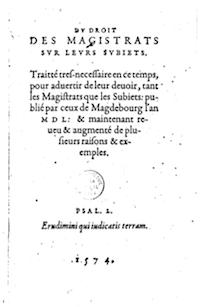 Portada de la edición en latín de Del derecho de los magistrados sobre sus súbditos.