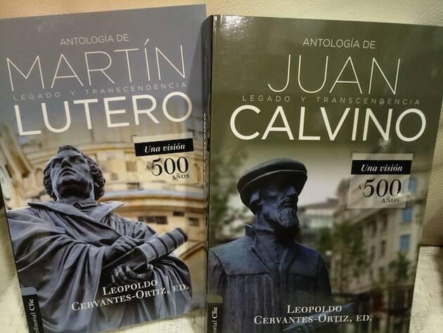 Portadas de la antologías de Lutero y Calvino.,