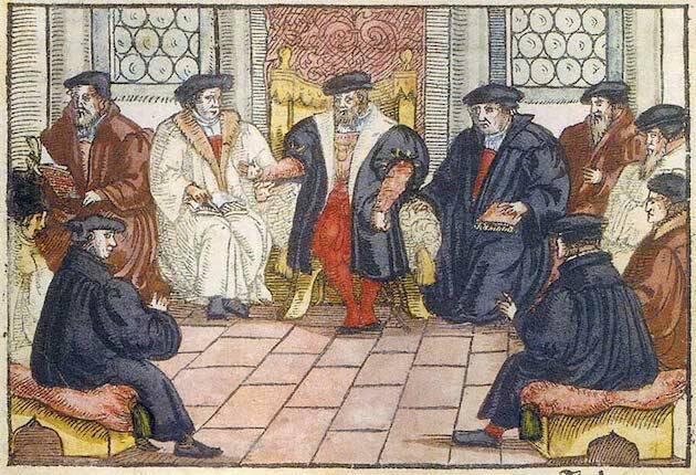 Los reformadores debatiendo en Marburgo. Xilografía anónima de 1557. / Wikimedia Commons,