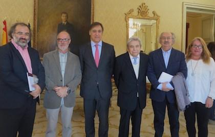 De izquierda a derecha, Alencart, Bonilla, el alcalde de Salamanca Carlos García Carbayo, Salvado Colinas y Barahona. / Jacqueline Alencar