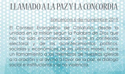 El comunicado íntegro del Consell Evangèlic de Catalunya. / CEC