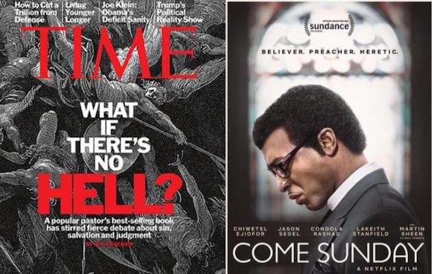 Portada de la revista Time con el artículo sobre el universalista y cartel de la película Come Sunday, sobre la lucha de Carlton Pearson.,