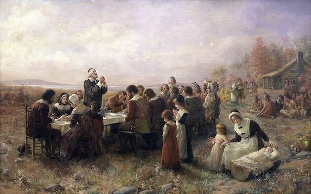 Primer Acción de gracias en Plymouth, un cuadro de Jeannie Brownscombe. / Wikimedia Commons,