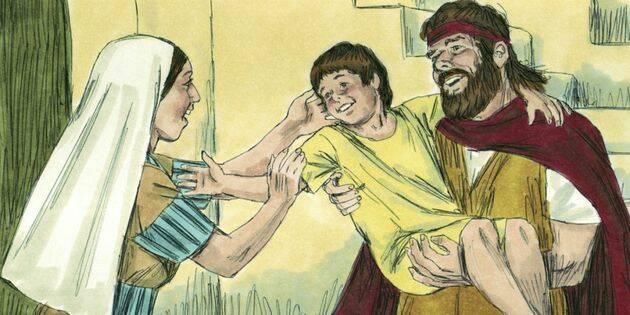 "Luego Elías dijo: - ¡Mira, tu hijo está vivo!"" / Free Bible images,"