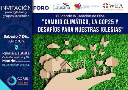 Cartel del foro evangélico sobre cambio climático.