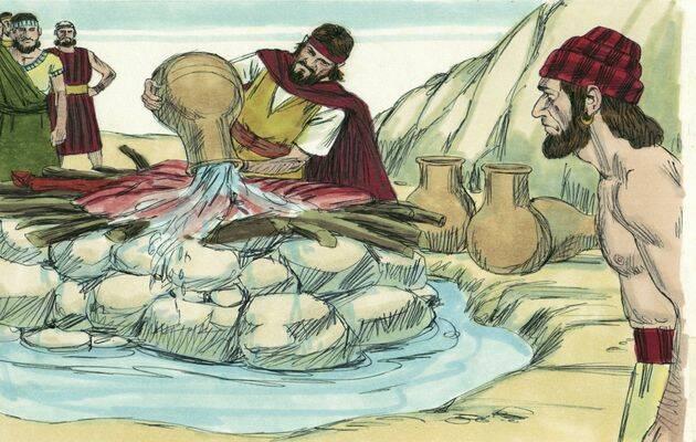 Elías ordena que se llenen cuatro cántaros de agua y se derramen sobre el holocausto y la leña. / Free Bible images.,