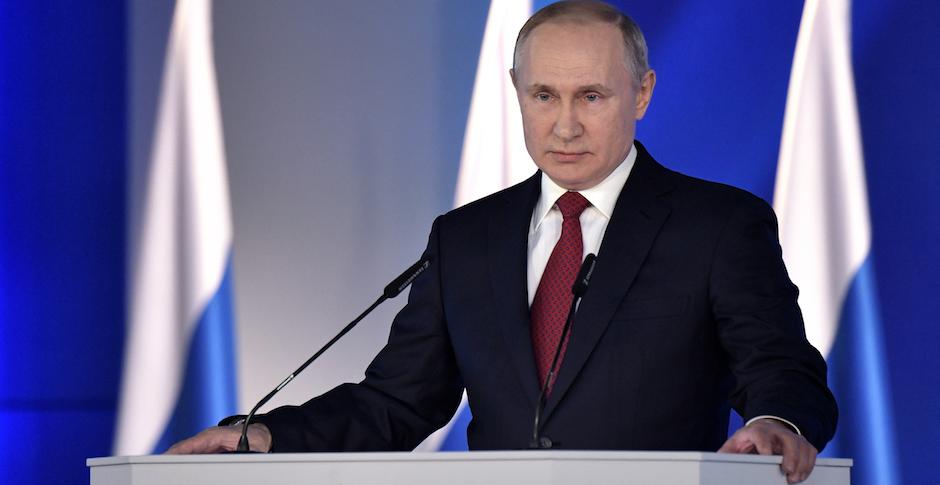 Vladimir Putin durante el discurso sobre el Estado de la Nación, el pasado 15 de enero. / Twitter @KremlinRussia_E,