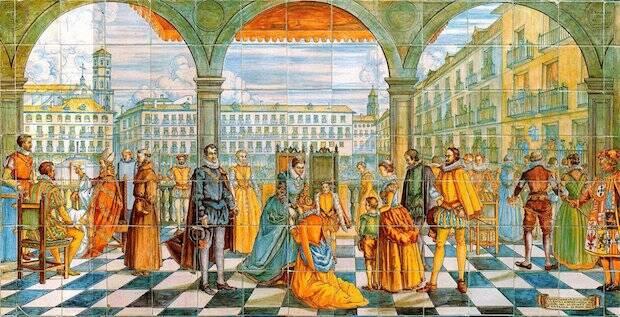 La Plaza Mayor de Valladolid durante el auto de fe del Doctor Cazalla, descrito en la novela.