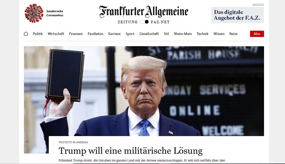 """La portada digital del diario <a target=""""_blank"""" href=""""https://www.faz.net/aktuell/"""">Frankfurter Allgemeine Zeitung</a>, de Alemania, el 2 de junio por la mañana.,"""